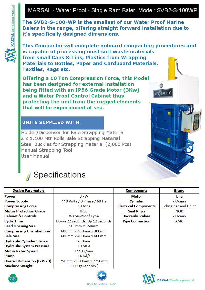 SVB2-S-100-WP - Water Proof Marine Baler
