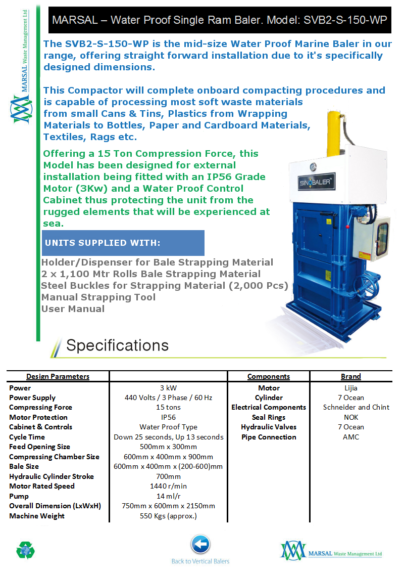 SVB2-S-150-WP - Water Proof Marine Baler